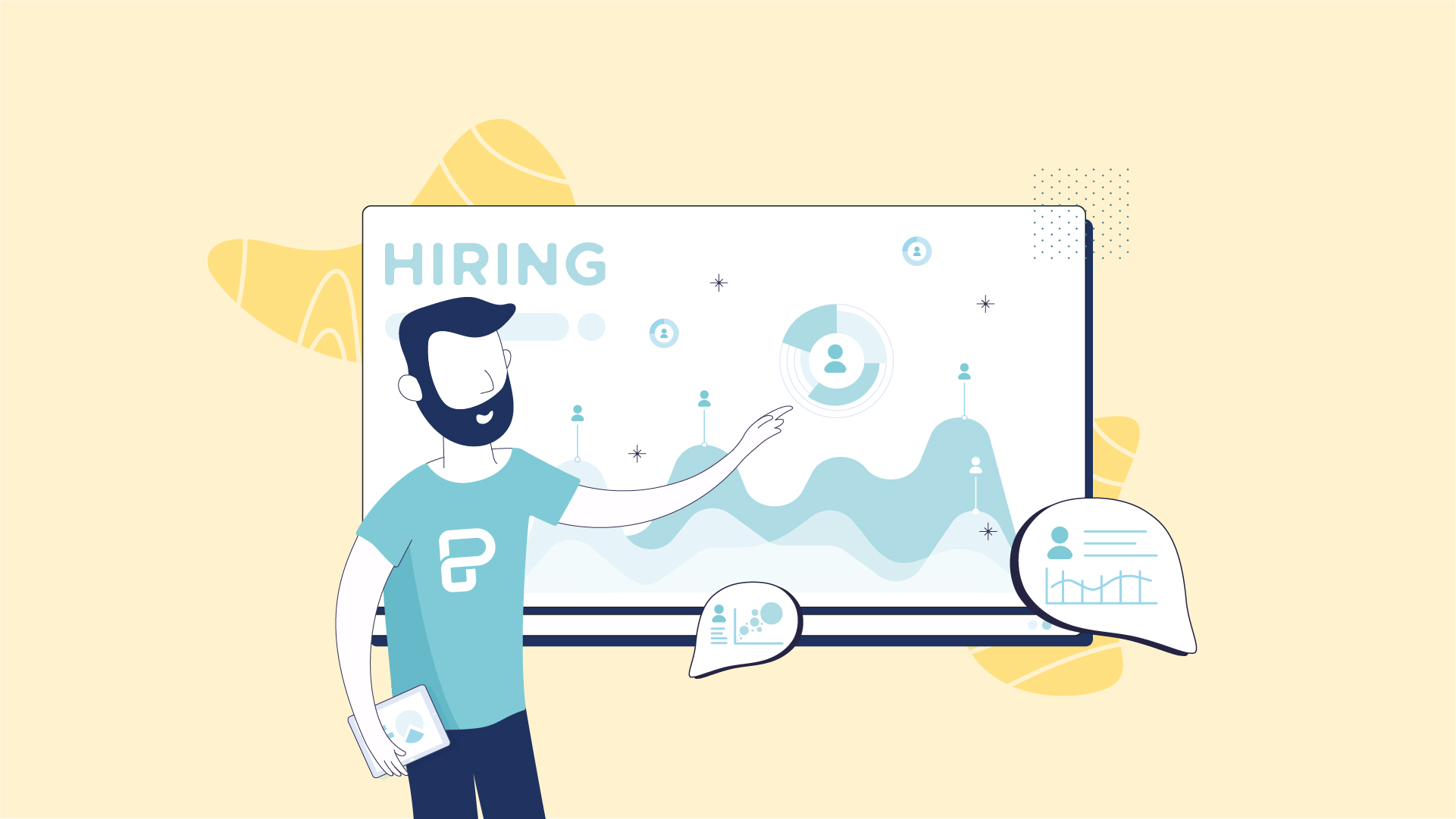 Customized illustration with Piktochart branding guidelines related with recruiters and HR