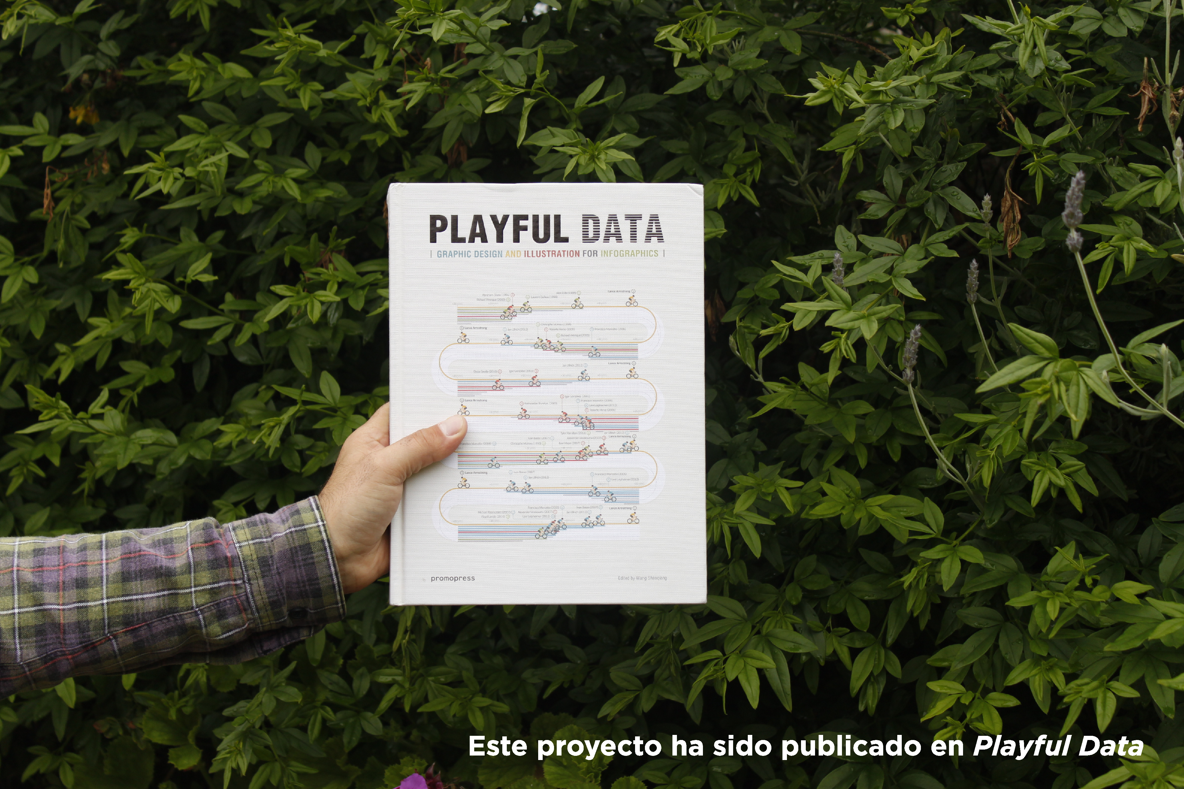 Playful data book cover photo in the garden