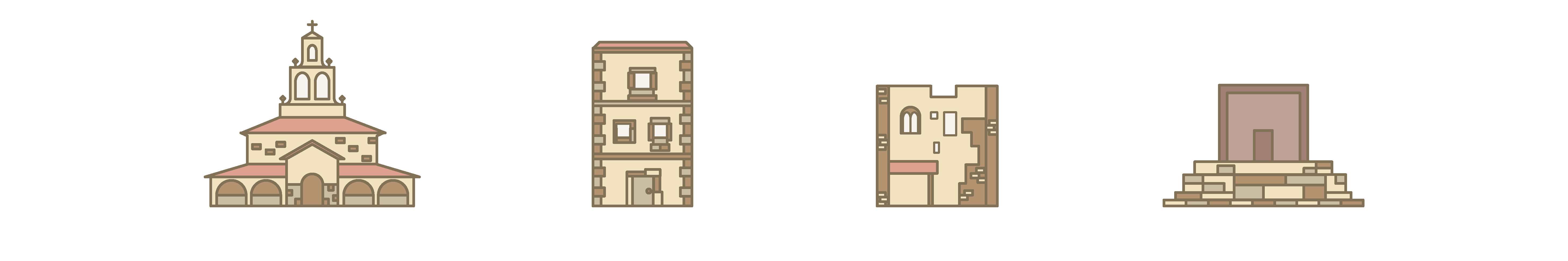Customized monument icons to show at first glance how are the main elements of the roman ruins