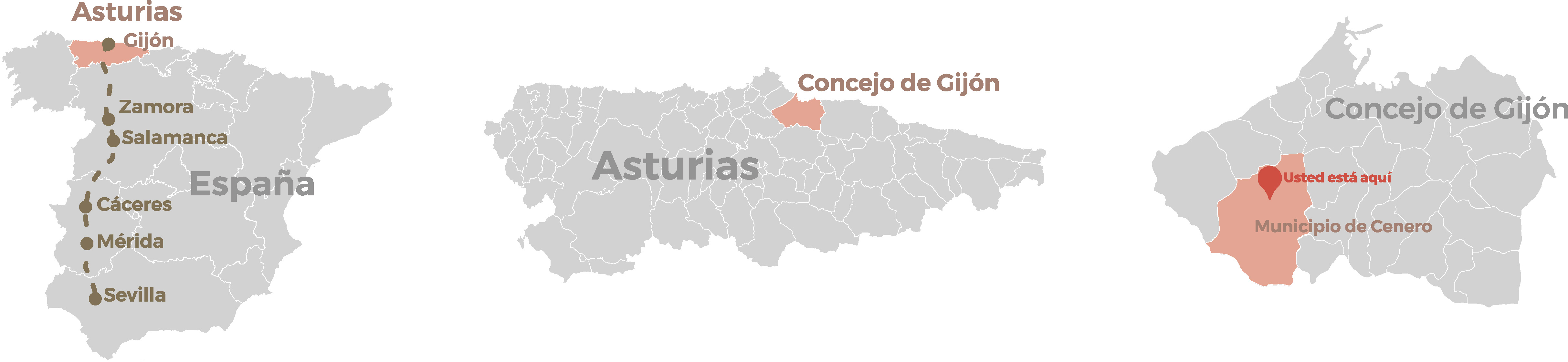 Asturias map to show the position of the specific region where the ruins are