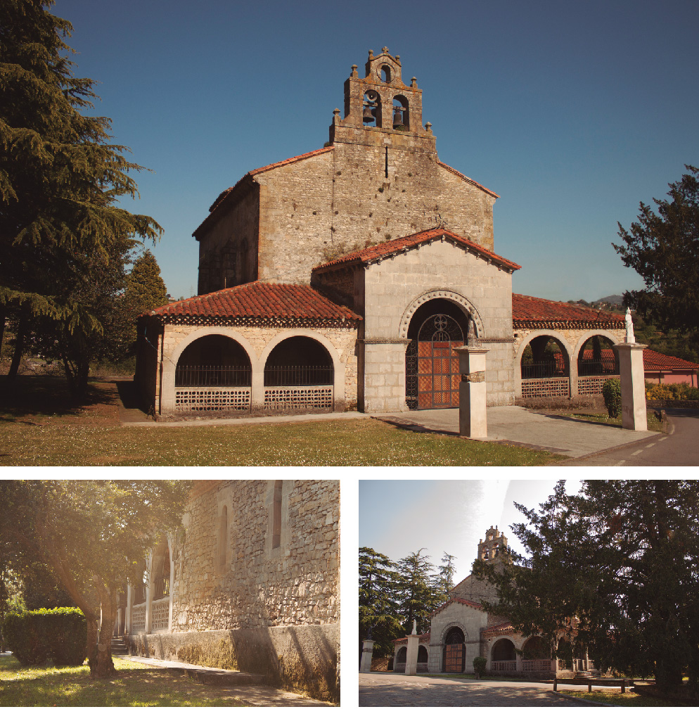 Customize photographies about the church near the Roman Villa of Veranes, in Asturias, Spain.