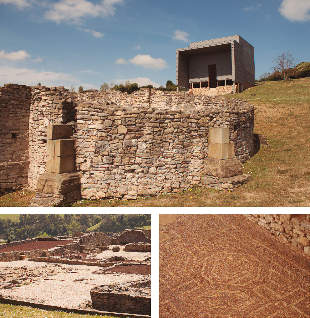 Customize photographies about the Roman Villa of Veranes, in Asturias, Spain.