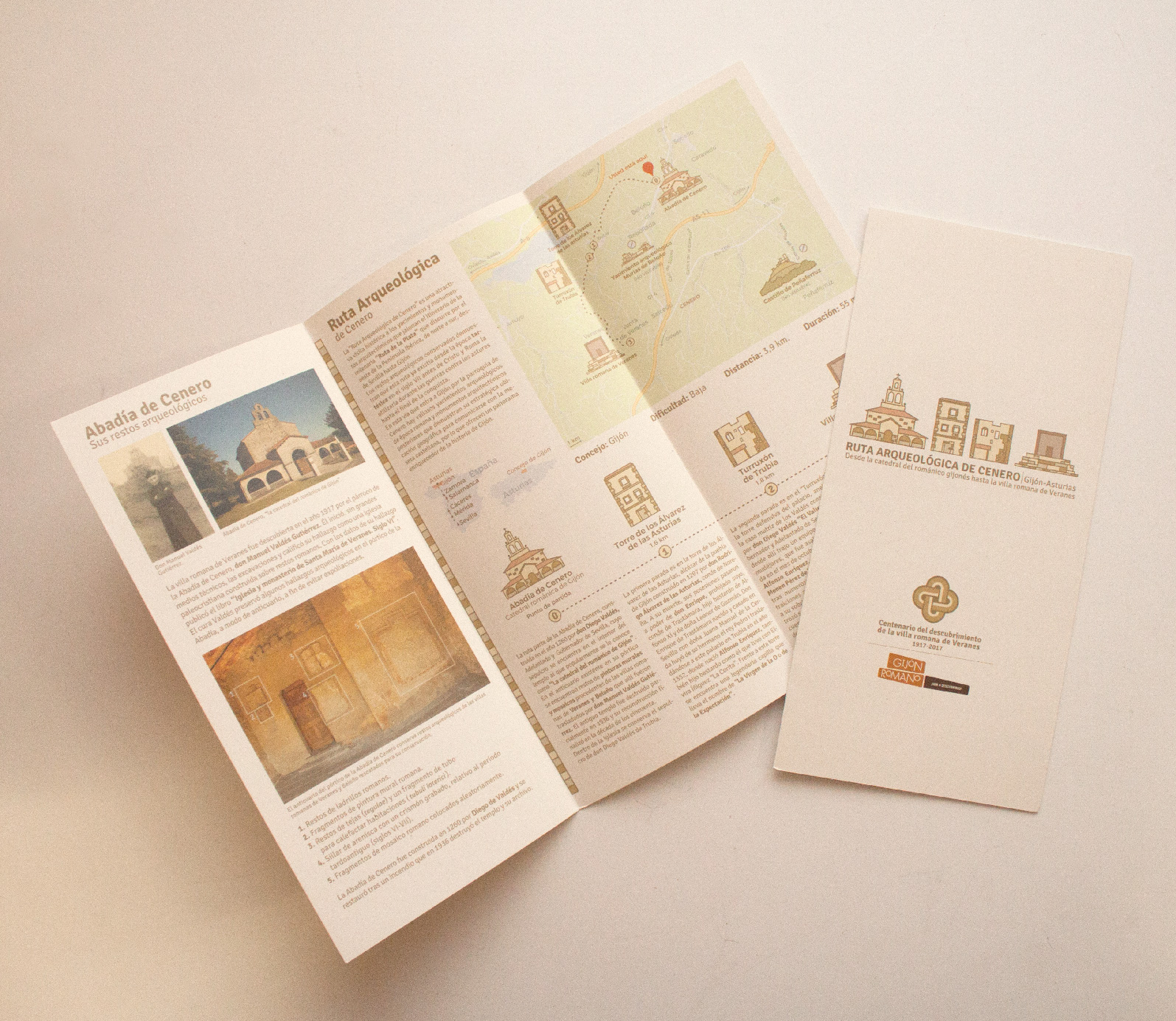 Customized trifold brochure to show the essential information about the roman ruins of Veranes.