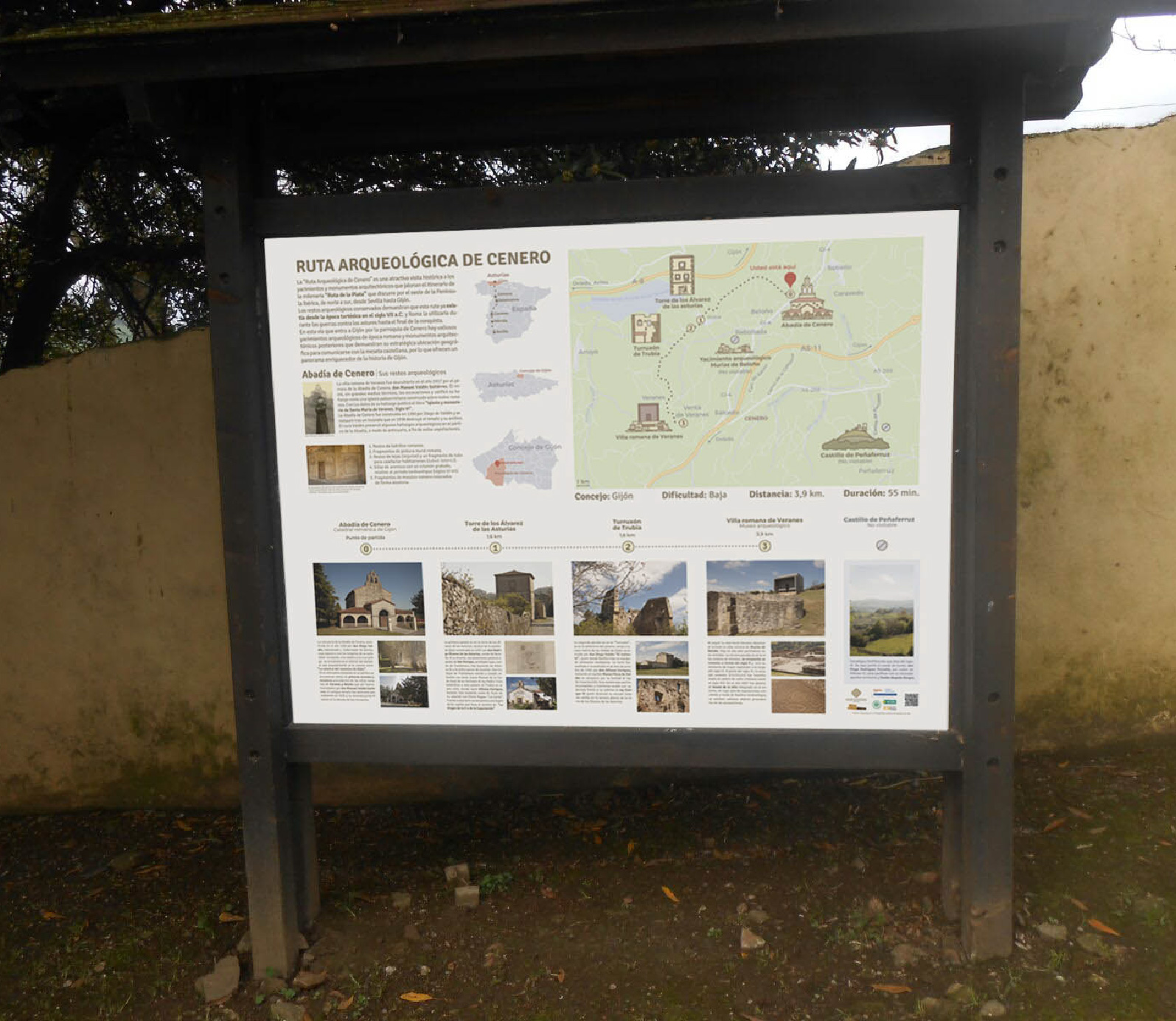 Route panel to show some information and the geolocation of the main monuments of the roman ruins